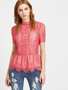 Hot Pink Sheer Floral Lace Peplum Top