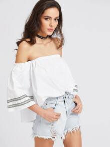 Embroidered Tape Detail Bardot Top