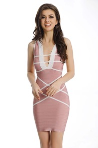 Pink Striped Deep V Neck Bodycon Dress