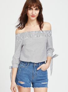 Black White Striped Smocked Off The Shoulder Tie Sleeve Top