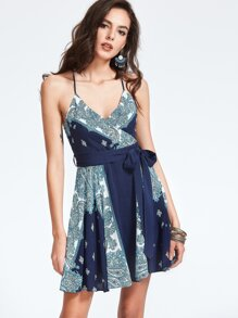 Navy Paisley Print Crisscross Wrap Cami Dress