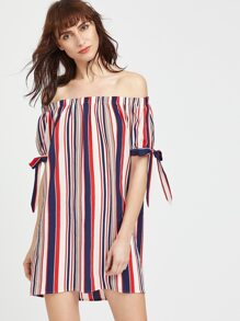 Multicolor Striped Off The Shoulder Tie Sleeve Dress