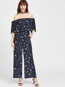 Navy Botanical Print Bow Tie Wide Leg Bardot Jumpsuit