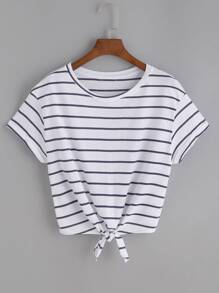 White Striped Knot Front T-shirt