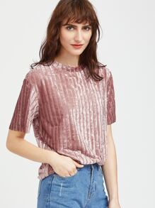 Pink Striped Velvet T-shirt
