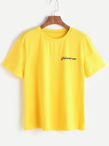 Yellow Letter Print Short Sleeve T-shirt
