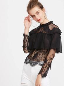 Black Contrast Lace Ruffle Trim Blouse