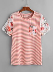 Contrast Florals Sleeve Striped T-shirt