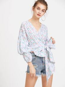 Striped And Watermelon Print Gigot Sleeve Wrap Top