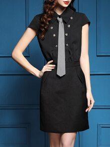 Black Tie Neck Pockets Combo Sheath Dress