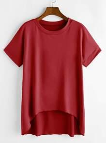 Burgundy Short Sleeve Dip Hem T-shirt