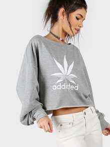 Heather Grey Graphic Print Asymmetric Off The Shoulder Sweatshirt