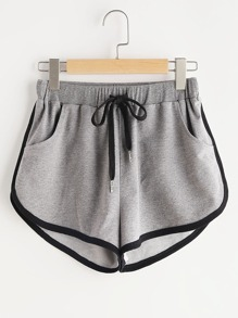 Drawstring Waist Contrast Binding Dolphin Shorts