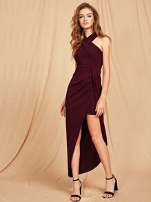 Halterneck Criss Cross Front Maxi Dress