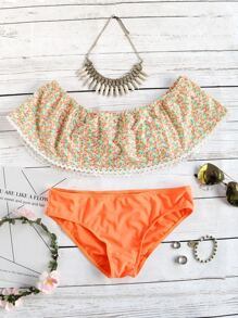 Orange Floral Print Off The Shoulder Bikini Set