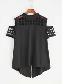 Black Open Shoulder Laser Cut Out Split Back T-shirt