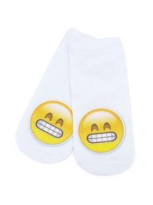 White Emoji Print Cute Ankle Socks