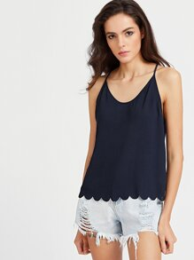 Navy Scallop Detail Overlap Cami Top