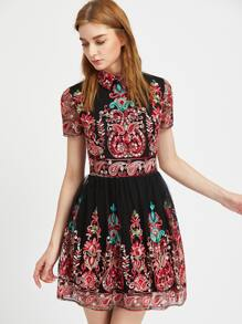 Black Embroidered Mesh Overlay Skater Dress