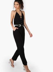 Halter Lace Up Jumpsuit BLACK