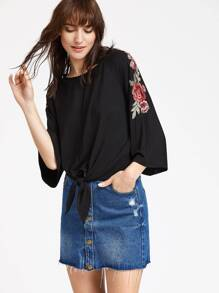 Black Rose Patch 3/4 Sleeve Knot Front T-shirt