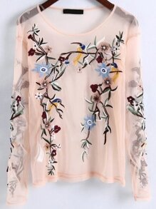 Apricot Flower Embroidery Mesh Blouse