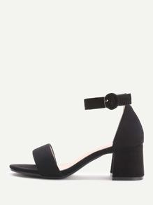 Black Tow Part Block Heel Sandals