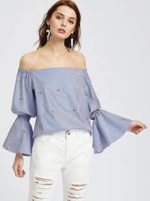 Blue Striped Bell Sleeve Embroidered Off The Shoulder Top