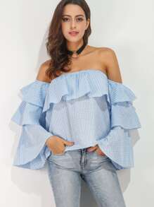 Gingham Off The Shoulder Ruffle Tiered Top