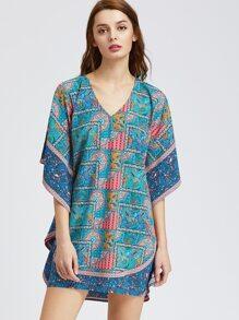 Blue Paisley Print Dolman Sleeve Dress