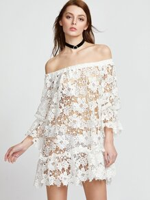 White Off The Shoulder Hollow Out Embroidered Lace Dress