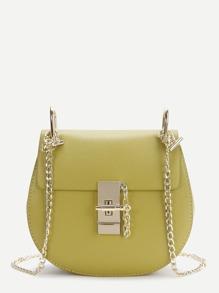 Yellow Flap Saddle PU Bag With Chain