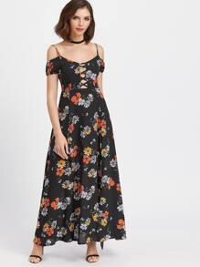 Black Florals Cold Shoulder Lattice Front Chiffon Dress