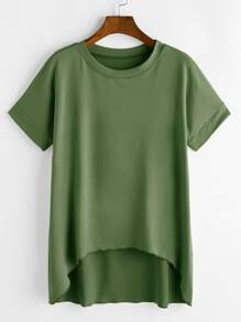 Green Short Sleeve Dip Hem T-shirt