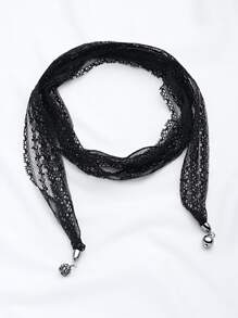 Lace Wrap Choker Necklace With Charm