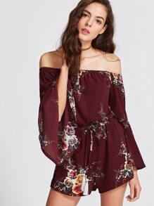 Burgundy Floral Off The Shoulder Bell Sleeve Romper With Fringe