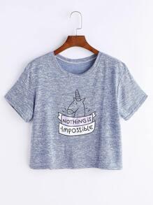 Heather Blue Cartoon Print T-shirt