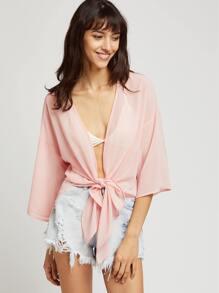 Pink Tie Front Drop Shoulder 3/4 Sleeve Kimono