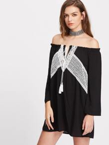 Contrast Lace Panel Tassel Tie Neck Off The Shoulder Dress