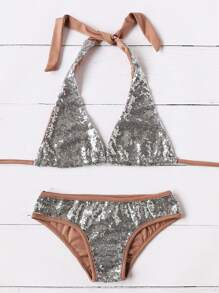 Silver Contrast Trim Sequin Triangle Sexy Bikini Set
