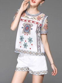 White Vintage Embroidered Top With Shorts