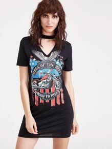 Black Cut Out Choker Neck Printed Tee Dress