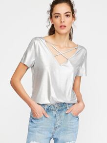 Silver Crisscross V Neck T-shirt