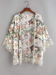 White Flower Print Crochet Trim Kimono