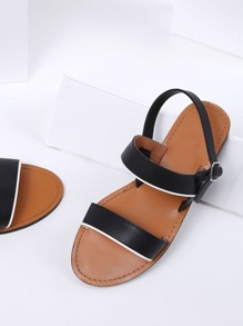 Black Strappy Beach Style PU Sandals