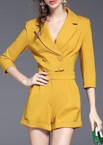Yellow V Neck Elegance Jumpsuit