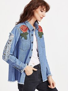 Blue Rose Patch Distressed Denim Shirt Jacket