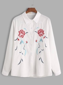 White Flower Embroidered Shirt