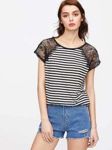 Black White Striped Lace Raglan Sleeve T-shirt