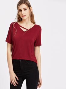 Burgundy Strappy V Neck Short Sleeve T-shirt
